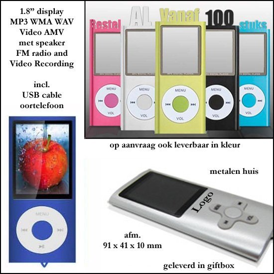 "* 100x actie MP4 player 2 GB model "" iPod """