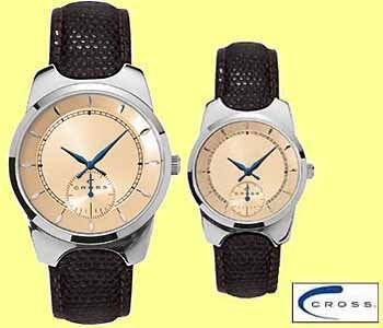 15x Cross two-tone steel/leder horloge's