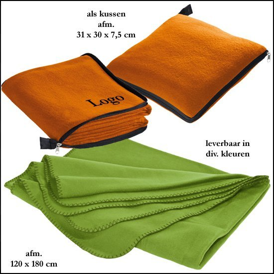 *  250x fleece deken/kussen 2 in 1