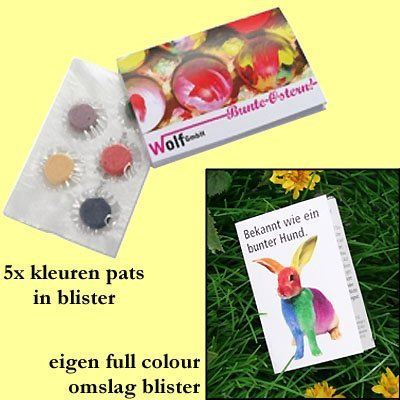 * 2500x in full colour blister 5x kleuren pats