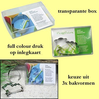 * 1000x bakvorm met full colour inleg in box pasen