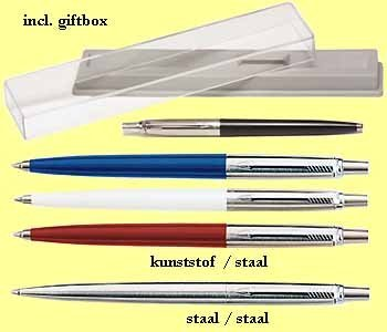 * AKTIE 1000x Parker jotter balpen staal/staal