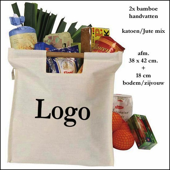 * 1000x katoenen/Jute BIG shopper tas