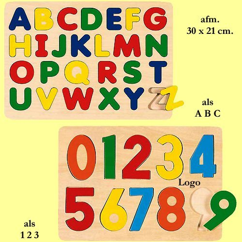 504x insteek puzzel ABC of 123 relatiegeschenken voor de kids