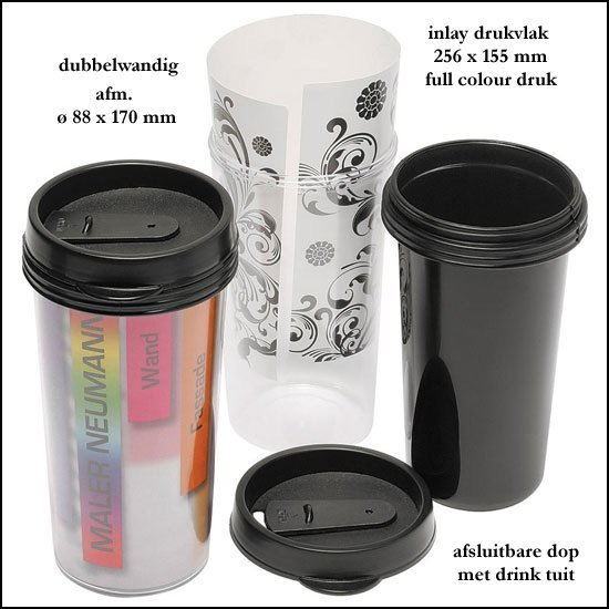 *  1000x thermo beker met full colour inlay