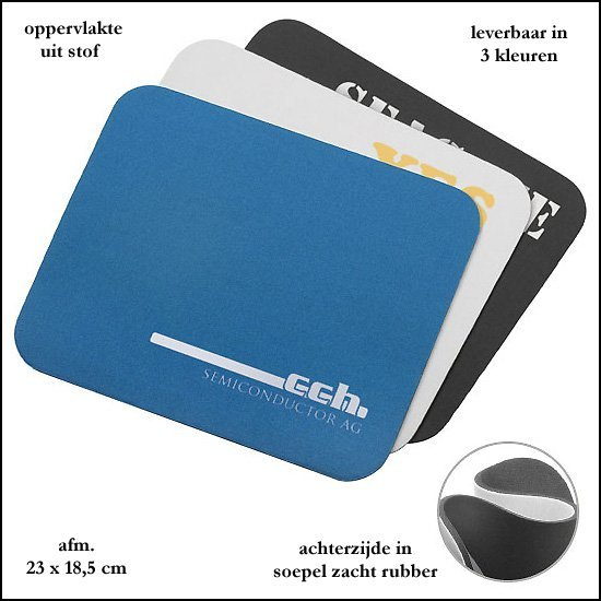 * 1000x basic mousepad's standaard stof/rubber