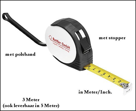 * 1000x rolmaat in Meter/Inch.
