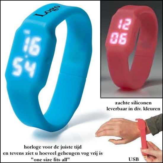 *  100x USB-stick/horloge 2GB