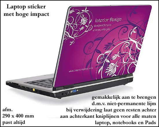 * 1000x Laptop notebooks tablets Pads top sticker/beschermhoes
