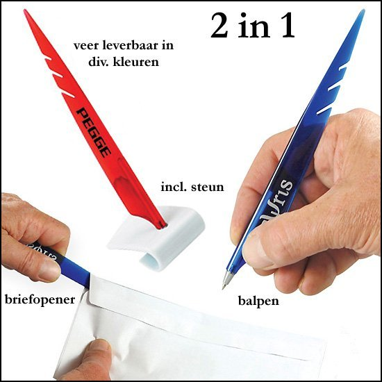 * 10.000x veer briefopener/balpen 2 in 1